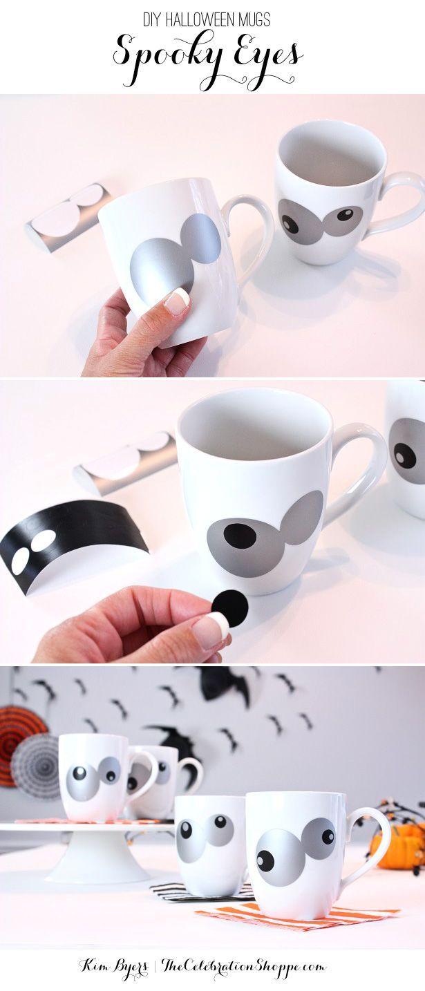 DIY Spooky Eyes Halloween Mugs   Home-made Halloween, Holidays ...