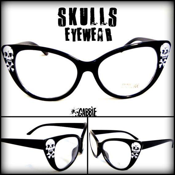 bcd8ddbdb2 Crânes Eyewear - Vintage Retro Cat Eye lunettes Frame - Custom peint - un  d une sorte !