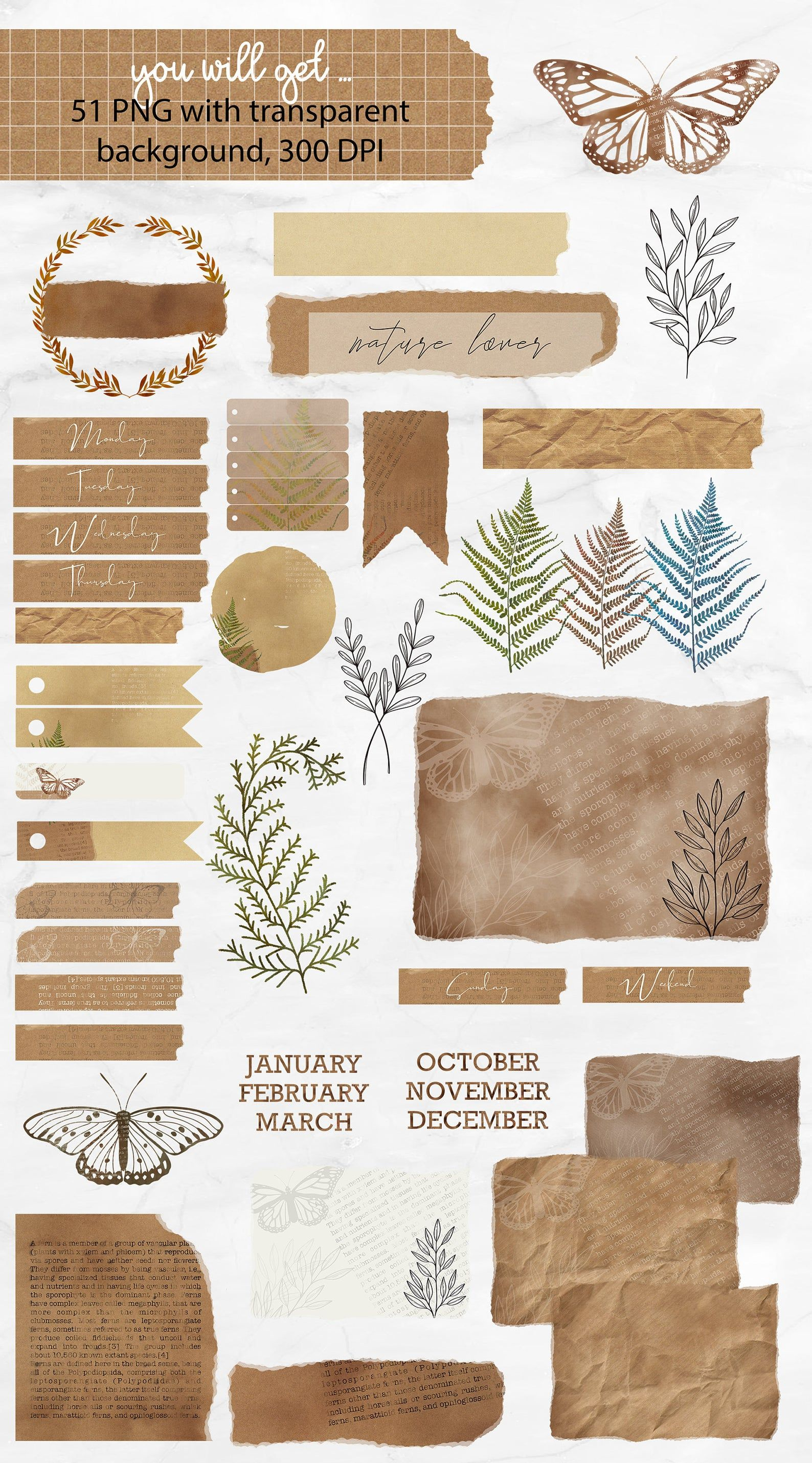 Junk Journal Clipart Collection | Old vintage Pape