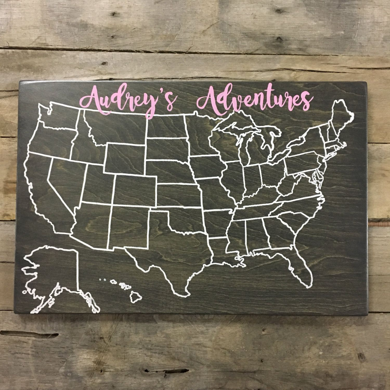 Wood Travel Map | Travel Map | USA Travel Map | Personalized | Pin ...