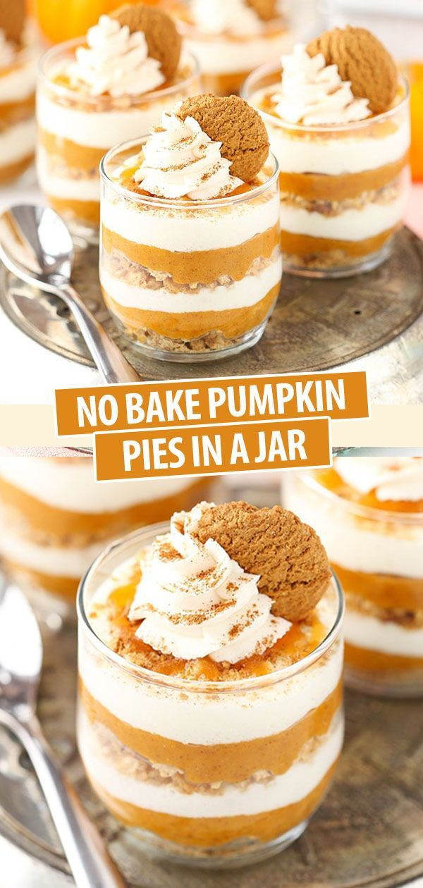 No Bake Pumpkin Pies in a Jar | Easy Homemade Pumpkin Pie Recipe No Bake Pumpkin Pies in a Jar | Ea