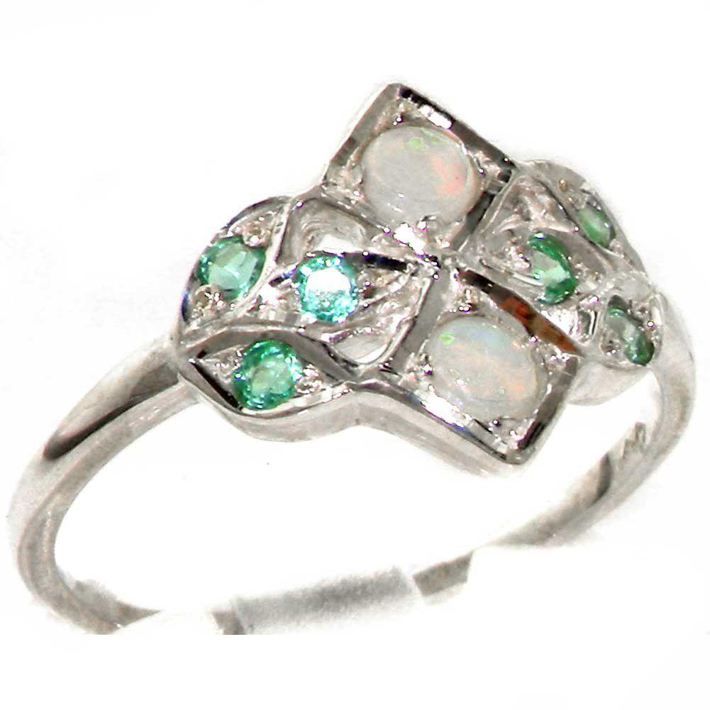 VINTAGE design 925 Solid Sterling Silver Natural Emerald Ring X0u2aAMT