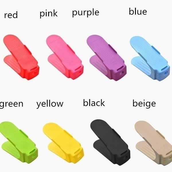 HOT SALE Durable Plastic Home Double Layer Shoes Storage Rack Shoe Shelf Holder Organizer Amazing Space-Saving