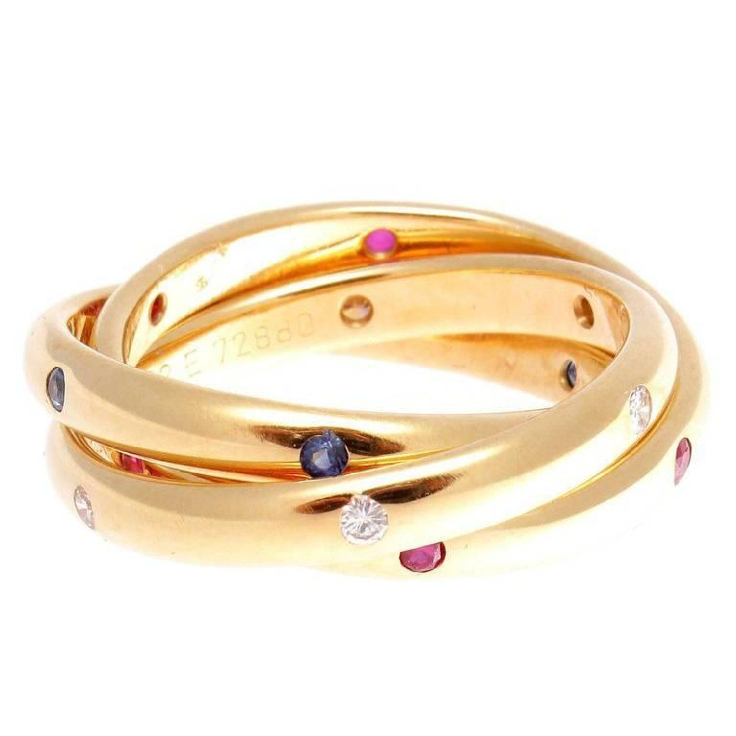 6ccd862d77b76 Cartier Ruby Sapphire Diamond Gold Trinity Ring | accessorize ...