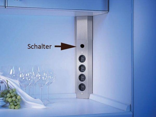 thebo sts 3008 ecksteckdose 4 fach edelstahl mit schalter. Black Bedroom Furniture Sets. Home Design Ideas