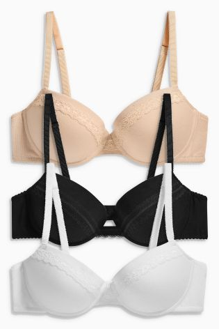 Buy Black/White/Nude Emily Modal Push Up Balcony Bras Three Pack online today at Next: Israel