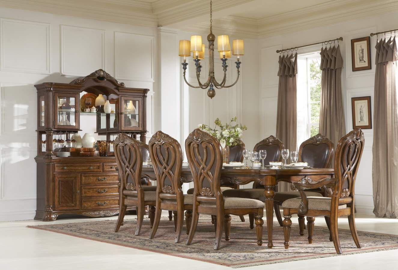 Formal dining room design ideas  Golden Eagle Antique Caramel Wood Metal Glass Buffet  China