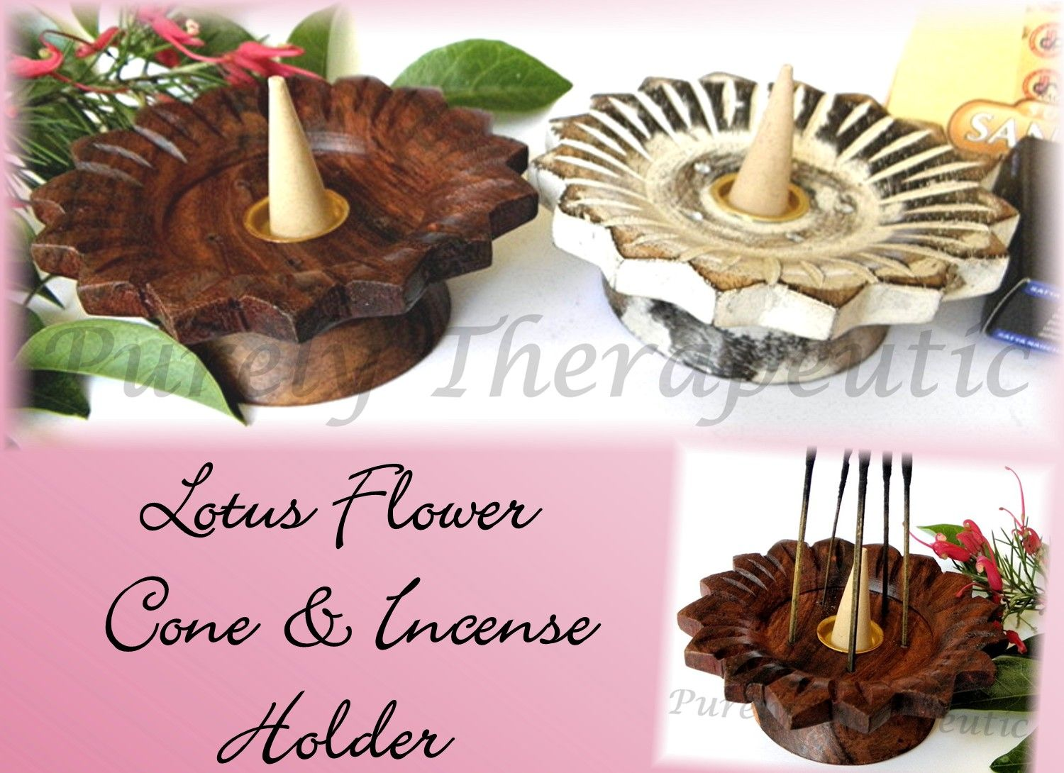 Lotus Flower Incense Cone Burnerholder Beautifully Hand Carved