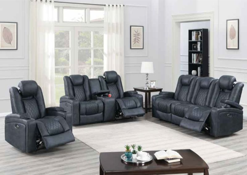 Poundex F86328 29 2 Pc Diligent Power Motion Ink Blue Leatherette Sofa And Love Seat Set Power Headrests Power Reclining Sofa Power Recliners Recliner