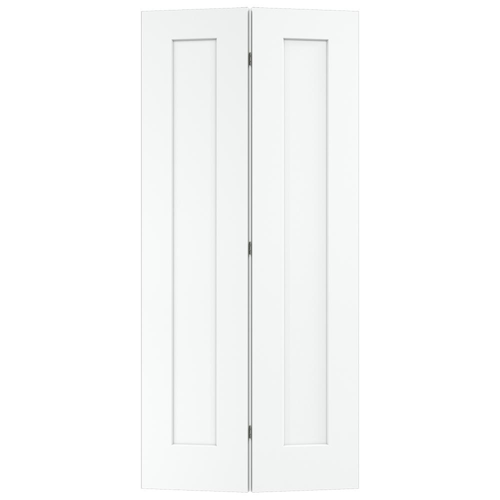 Jeld Wen 36 In X 80 In Madison White Painted Smooth Molded Composite Mdf Closet Bi Fold Door Thdjw191200827 Bifold Door Hardware Light Gray Paint White Paneling