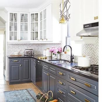 White Upper Cabinets And Gray Lower Cabinets With Brass Hardware Kitchen Design Kitchen Renovation Country Kitchen Designs
