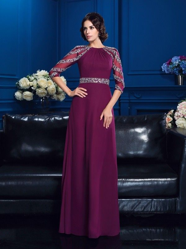 3c0f29f38988 A-Line Princess Scoop Beading 3 4 Sleeves Long Chiffon Mother of the ...