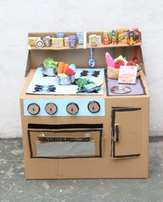 ideas para hacer cocinas de cartn para nios juguetes