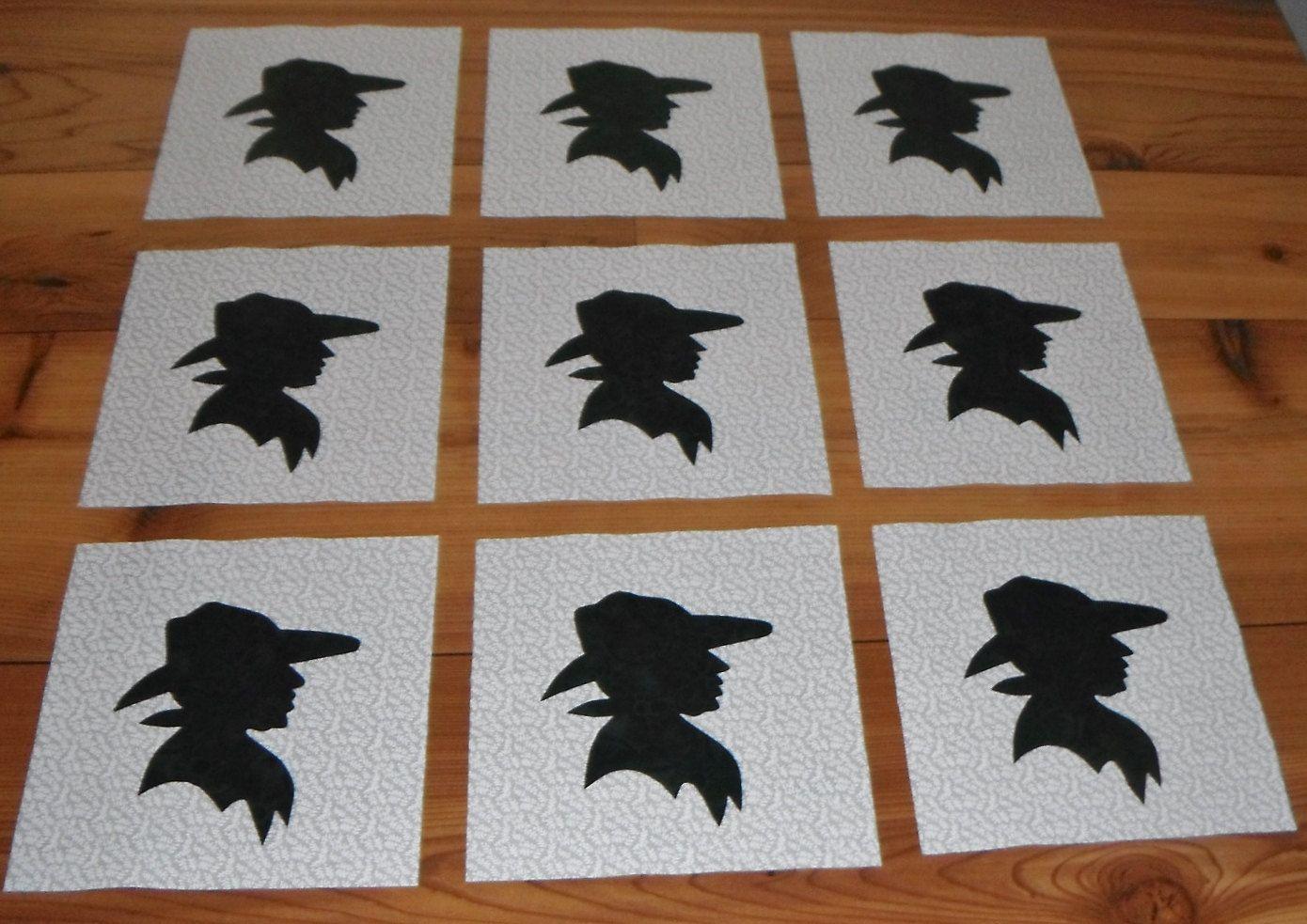 Set of 9 western cowboy silhouette applique quilt blocks. $11.95