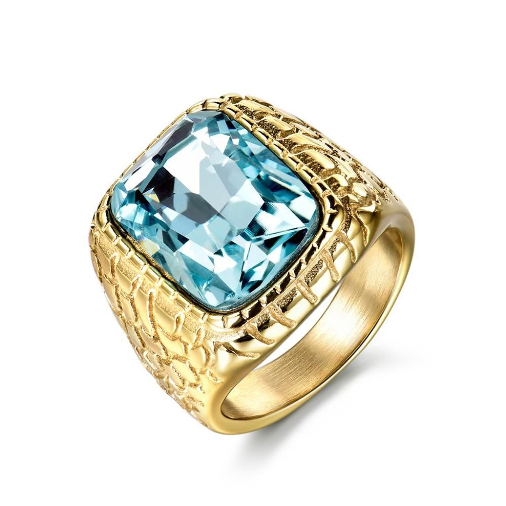ef6317811dbd9 Gold/silver color big blue zircon square ring for men | very-popular ...