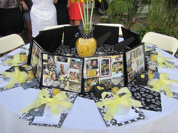 cheer banquet framed gift serve as centerpieces and seat markers double duty love this