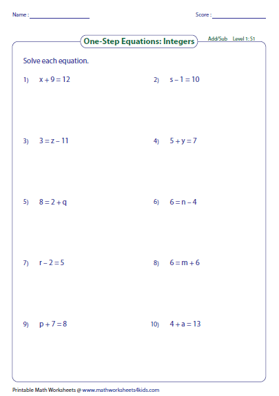 Solve One Step Equation Addition And Subtraction