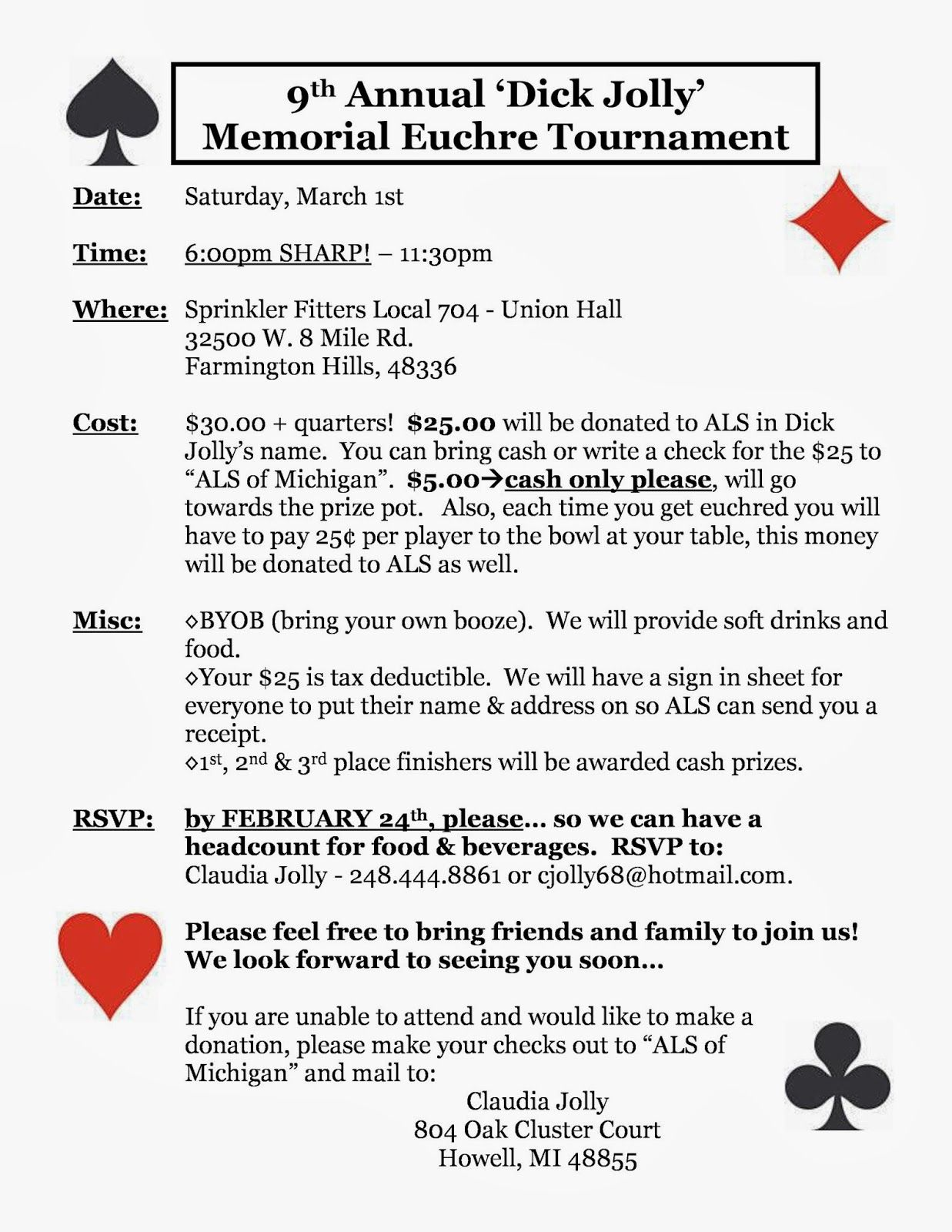 Charity Euchre Fundraiser  March   Farmington Hills Mi