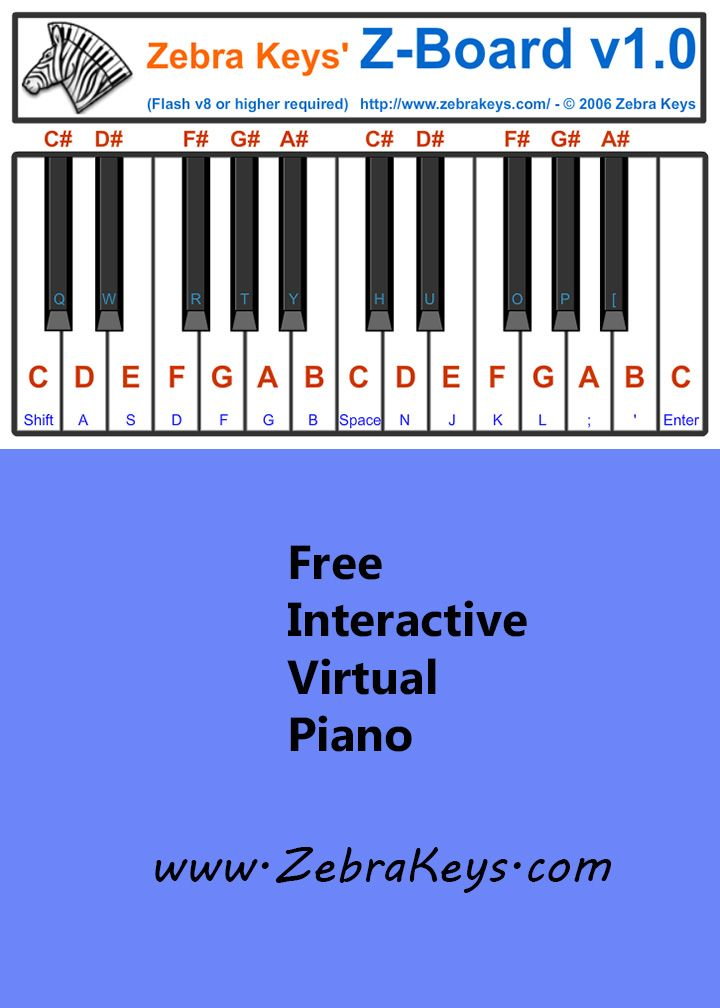 Use this online interactive Z-Board piano to learn to play easy songs http://www.zebrakeys.com/resources/musictools/virtualkeyboard/