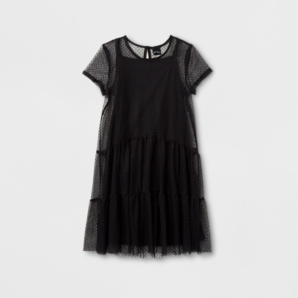 Girlsu swiss dot mesh dress art class black xl products
