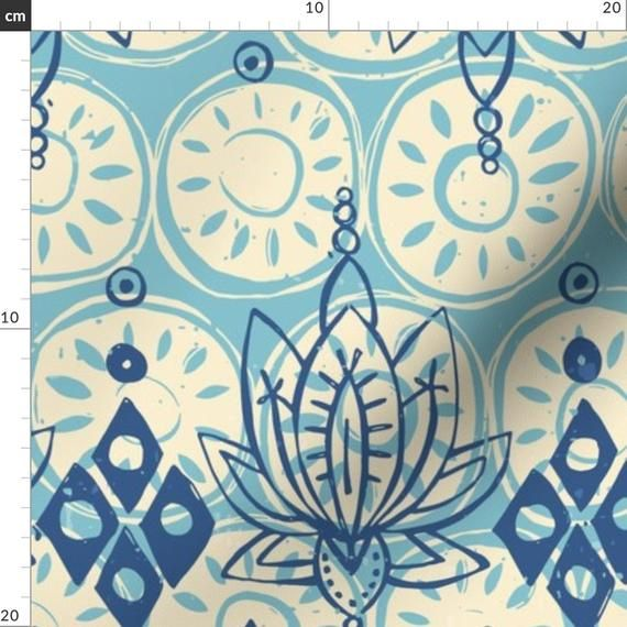 Lotus Flower Fabric - Lotus Diamond Blue By Scrummy - Lotus Flower Namaste Yoga Block Print Blue Cot #lotusflower