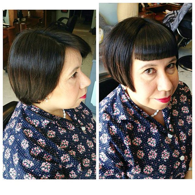 This cutie has been drooling over our fringes on instagram and wanted one of her own to take home! #bangs #bob #rockalilycuts