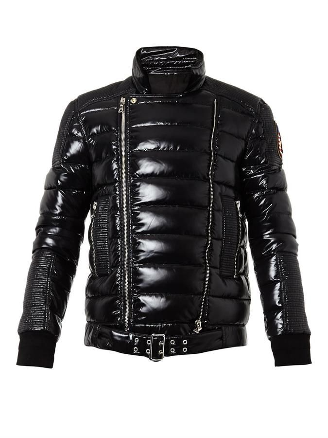 quite nice lace up in low price Balmain Quilted down biker jacket   December list   Mens ...