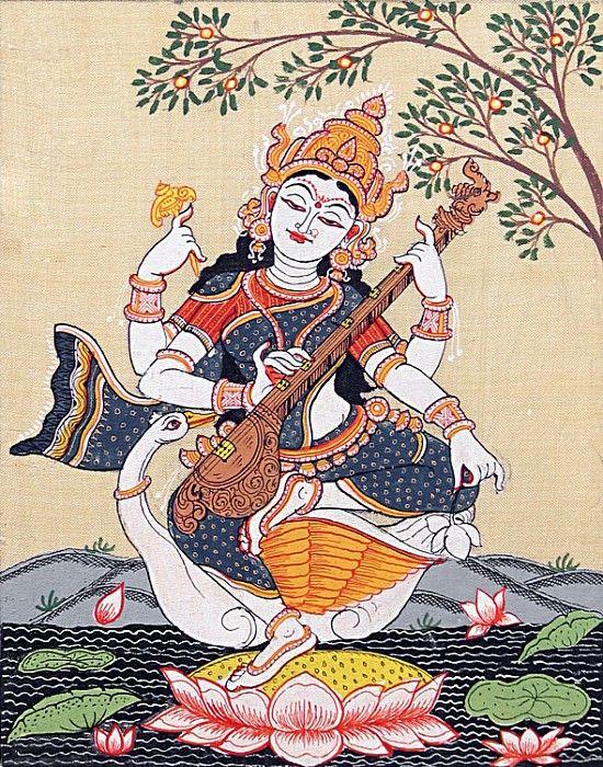 Sitting Saraswati - Folk Art Paintings (Orissa Pattachitra Painting on Tussar Silk - Unframed)
