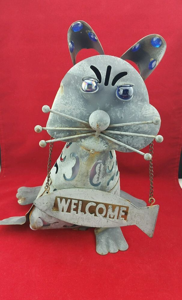 Tin Cat Blue Jewels Yard Art Welcome Flower Garden | Home & Garden, Yard, Garden & Outdoor Living, Garden Décor | eBay!