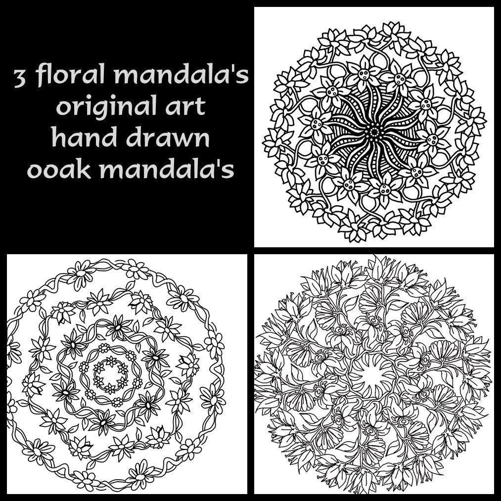 Unique mandala coloring pages - 3 Unique Floral Mandala Coloring Pages Hand Drawn Original Art One Of A Kind Coloring Pages 3 Individual Designs To Be Colored Or Painted