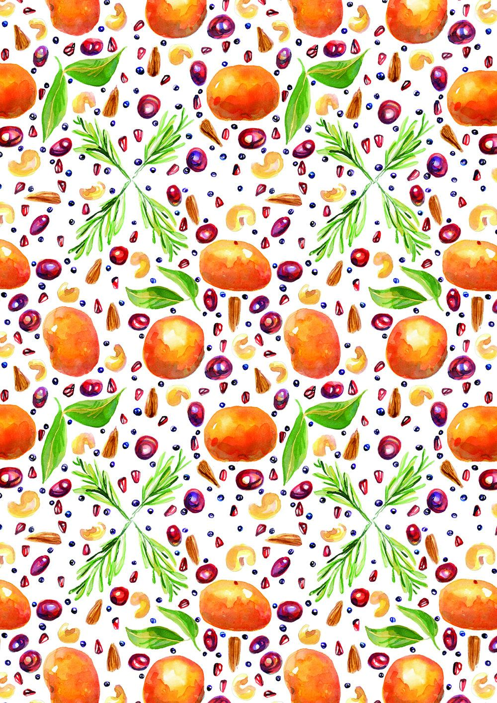 Christmas Fruit Pattern Watercolour Wrapping Paper Holiday Gift