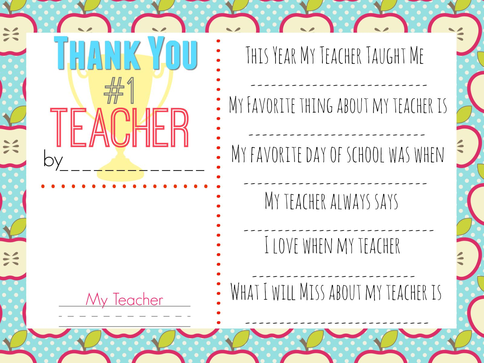 picture regarding All About My Teacher Free Printable known as Pin upon Trainer appreciation presents