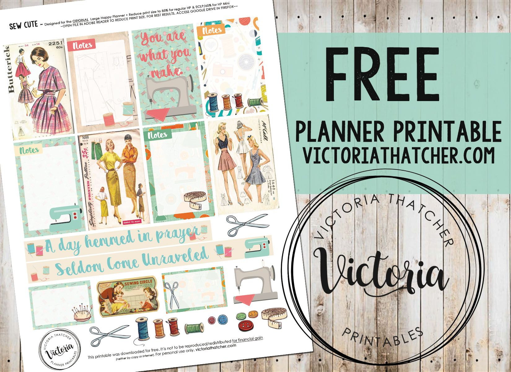 Free Printable Sew Cute Planner Stickers From Victoria Thtacher