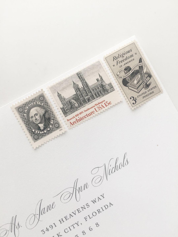 Wedding Invitation Postage Little Fox Paperie Vintage Stamps Wedding Invitation Wedding Invitation Stamp Wedding Invitation Postage Stamps