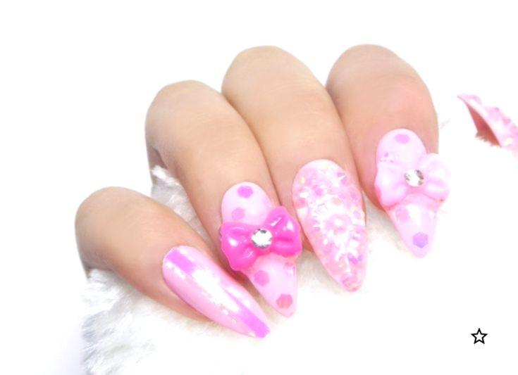 Kawaii Pink Jewelry Nails / Fake nails, press on nails, glue nails, nail art, gift women, princes