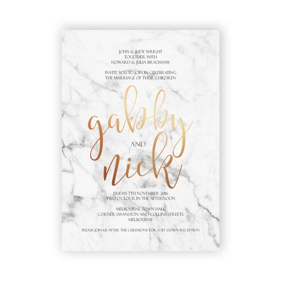 This modern invitation combines two of todays most popular