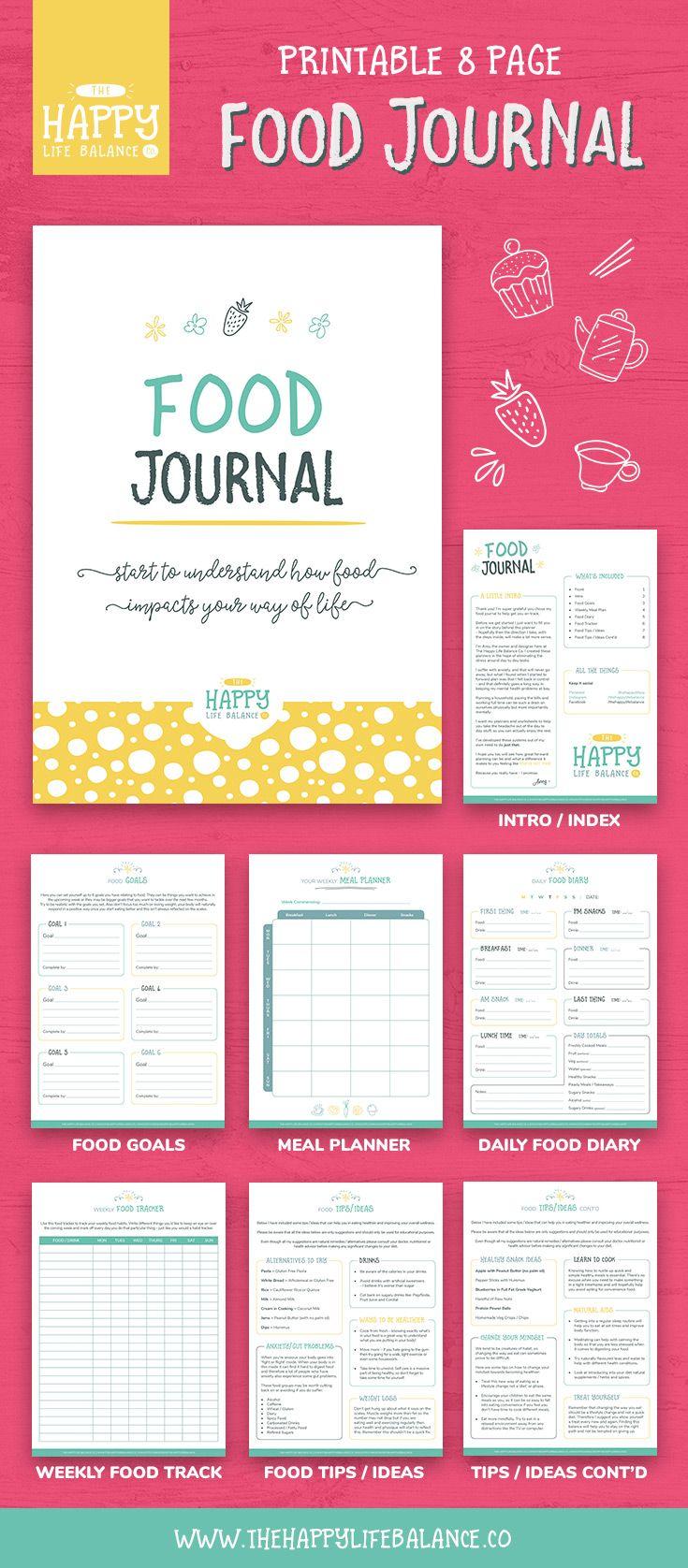 food journal meal planner mental health food diary food tracker
