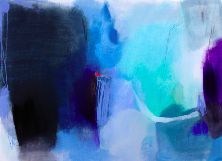 trembling hands acrylic and pastel on paper.