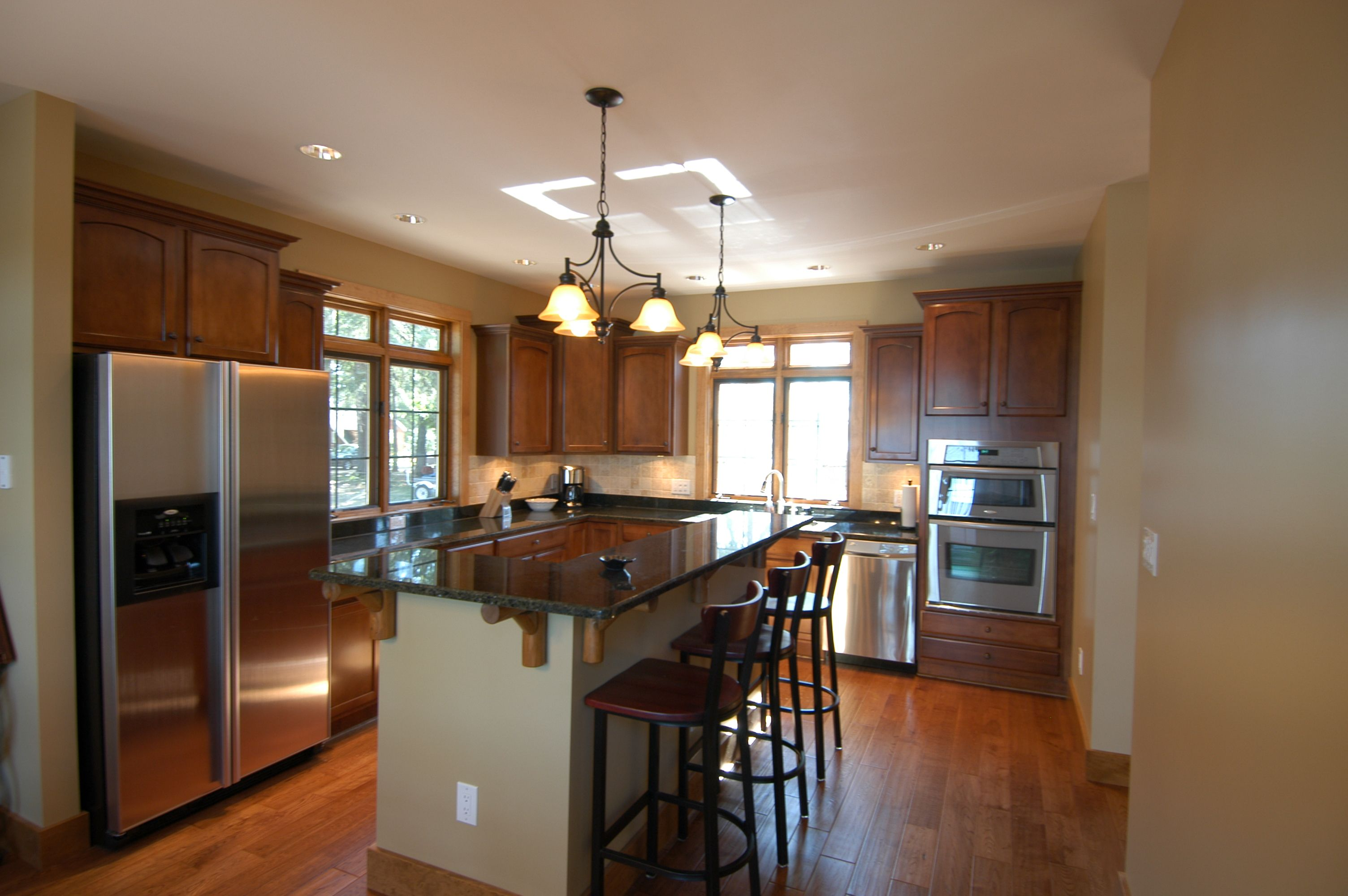 dark maple cabinets, granite tops & specially made log ... on Dark Maple Cabinets  id=99028