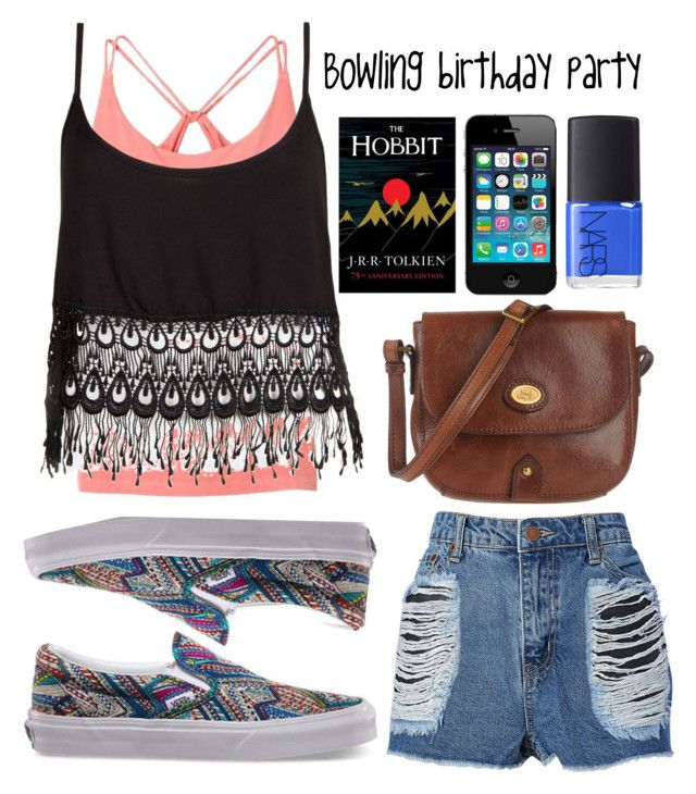 Bowling birthday party by breakingtherose on Polyvore featuring polyvore, fashion, style, Lucy Love, Pink Lotus, By eLUXE, Vans, The Bridge, NARS Cosmetics, vans, shorts, iphone, bowling and hobbit