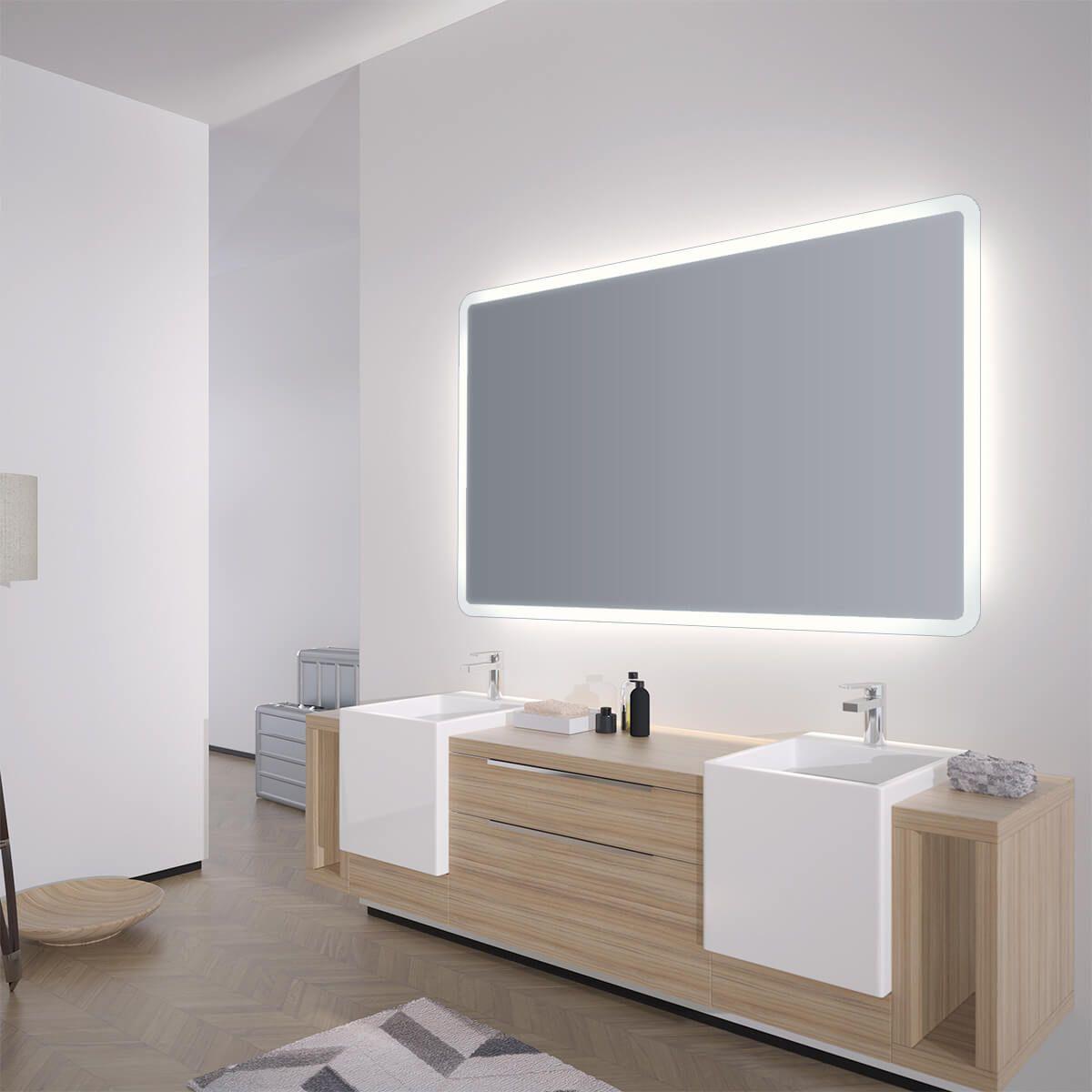 Spiegel Mit Abgerundeten Ecken Adela Spiegel Led Beleuchtung Badspiegel
