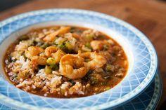Shrimp etouffee, a classic Louisiana stew of shrimp or crawfish served over rice.
