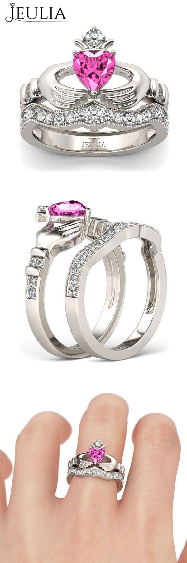 heart cut created pink sapphire claddagh ring set | silver