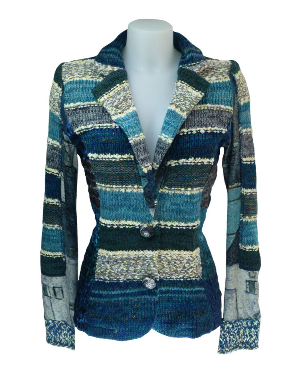 LULU H French Style Womens Turquoise Blazer Jacket