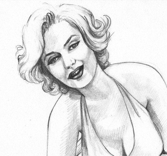 Marilyn Monroe Original Portrait pinup Pencil by robinelizabethart. , via Etsy.