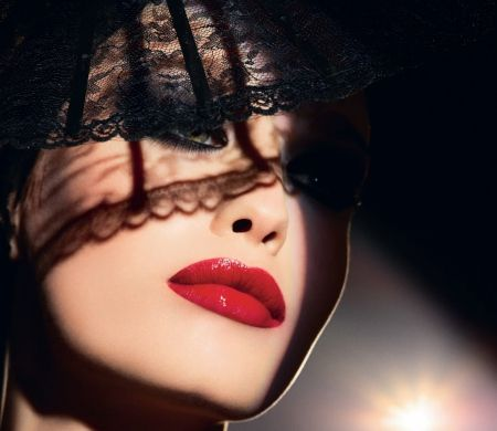 Red Lips Fashion Lace Red Veil Lips Beauty Face Lip