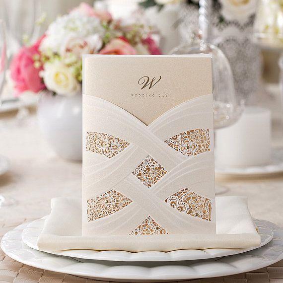 50 White Lace Wedding Invitation Unique Wedding Invitation 1