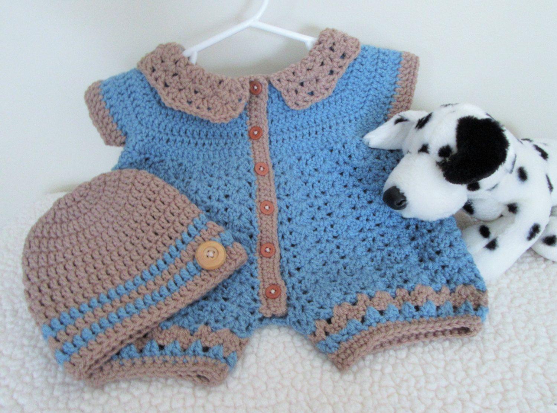 Crochet Baby Romper, Baby Boy Outfit, Infant Onesie,. zoom ...