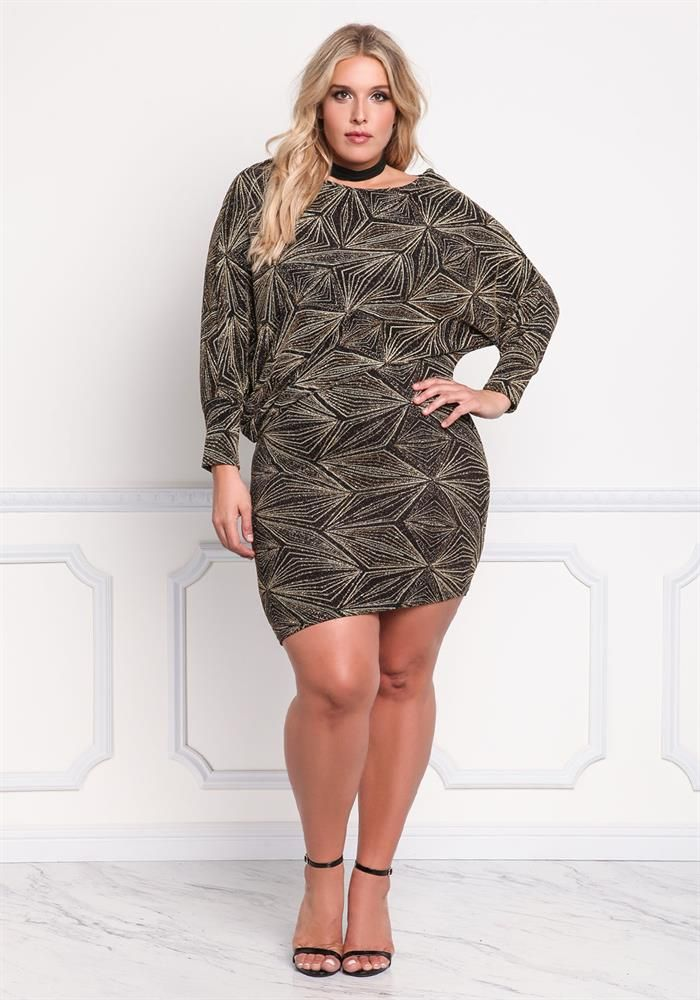 Plus Size Clothing | Plus Size Sparkle Geometric Bodycon Dress ...