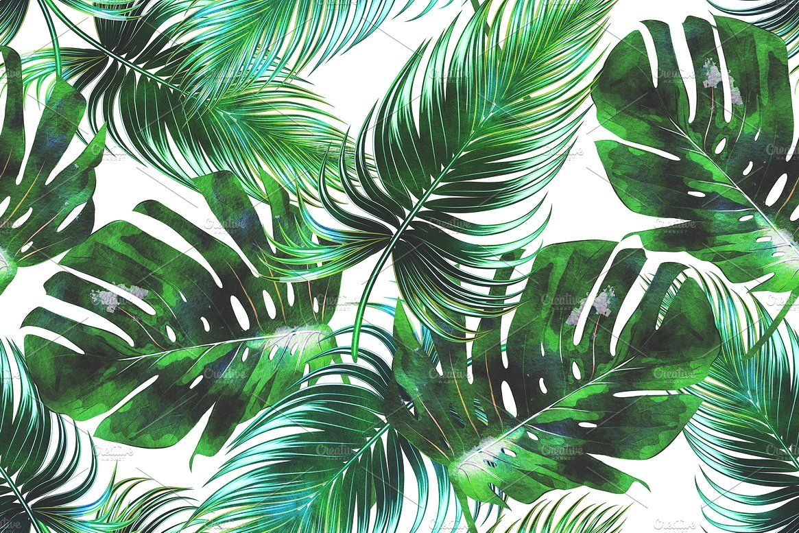 Watercolor tropical leaves pattern by Tropicana on